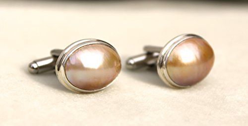 Silver cufflinks with golden Mabe pearls
