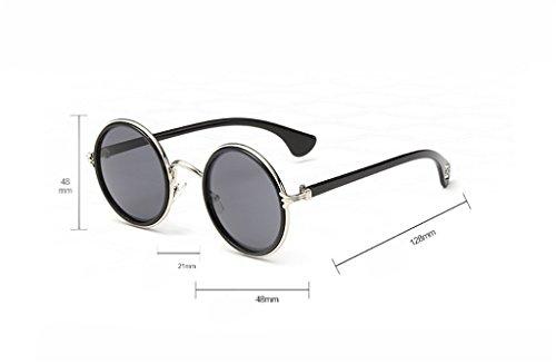 6 Classic Sun de 8 Yxsd Retro Metal polarizadas Color Glasses Frame Sol Gafas Round Unisex qRqXU6w