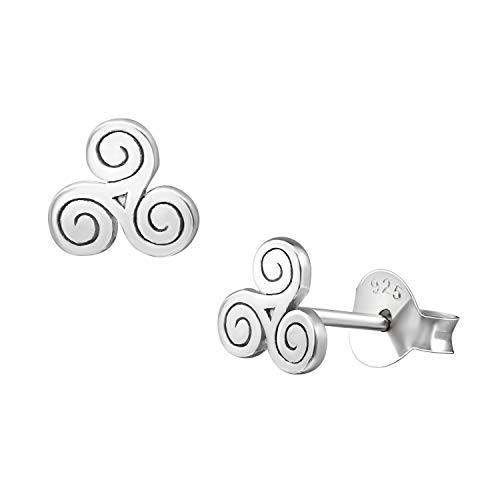 6mm Tiny 925 Sterling Silver Triskelion Triple Spiral Studs Celtic Design Earrings Womens ()