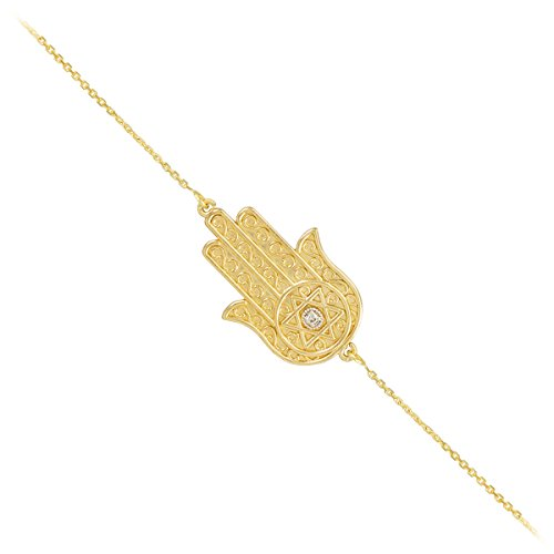 14K Or jaune Diamant étoile de David juive Hamsa Bracelet à breloques, 19,1cm à 20,3cm réglable