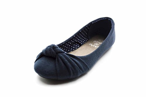 Casual Ballerina - Simply Petals Casual Slip On Knotted Ballerina Flat (Toddler/Little Girl) New in Navy Size: 2 Little Kid M