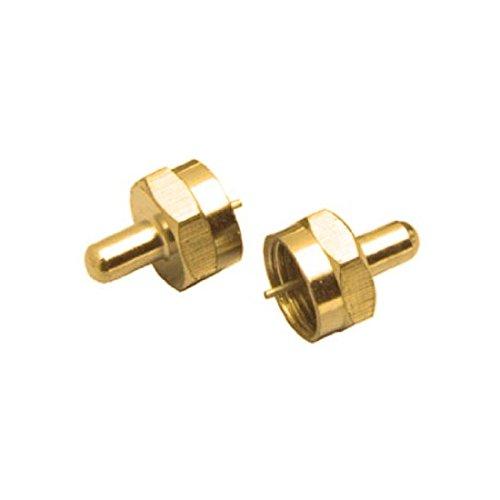 F-Type 75 Ohm Terminator Gold Brass 5% 1/2 Watt VHF UHF FM Male Coaxial End Cap Digital TV Audio Video Signal Line Connector Impedance Match Plug, Component Adapter, Single Pack