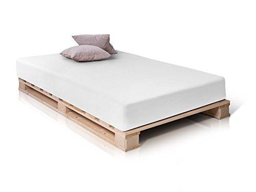 PALETTI Massivholzbett Holzbett Palettenbett Bett aus Paletten in 140 x 200 cm Fichte, 140 x 200 cm