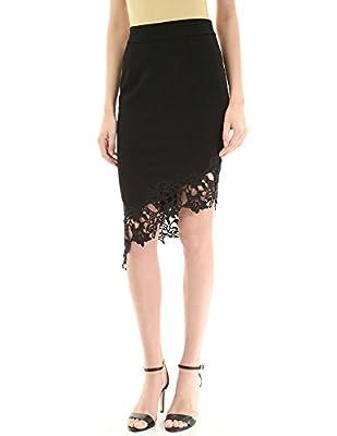 PattyBoutik Women Floral Lace Asymmetric Hem Skirt