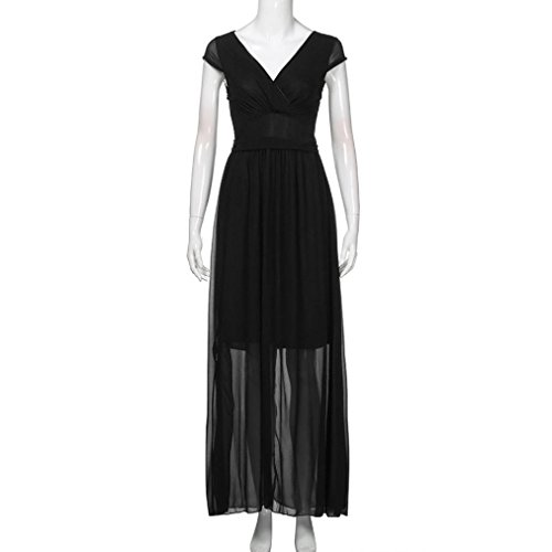 e6f7925e1131ed ... MCYs Damen V-Ausschnitt Böhmische Taille Chiffon-Kleid Abendkleid  Strandkleid Maxi Kleid Vintage T ...