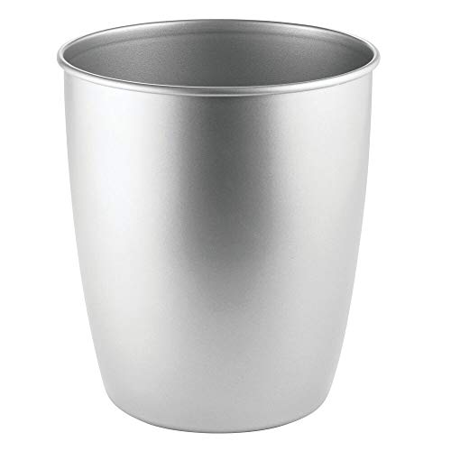 mDesign Round Metal Small Trash Can Wastebasket, Garbage Container Bin for Bathrooms, Powder Rooms, Kitchens, Home Offices - Durable Steel - Chrome