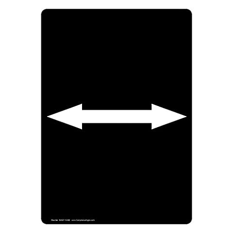 ComplianceSigns Vertical Vinyl Directional Labels, 5 x 3.50 in., with [Graphic Only] Dual Directional Symbol, Black, pack of 4