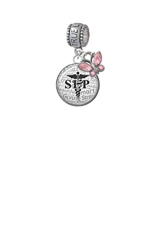 Domed Black SLP True Love Waits Charm Hanger with Mini Pink Butterfly by Delight Jewelry