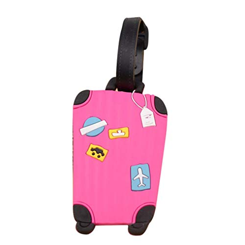 UMFun Luggage Tags Labels Suitcase Bag Baggage Name Address ID Travel Tag Card Case 10.5cm (Pink)