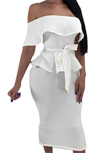Pivaconis Womens Cocktail Dress 2 Pieces Bow Tie Front Ruffle Blouse Peplum Top Bodycon Skirt White US S by Pivaconis