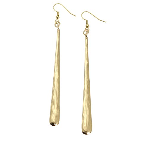 Nu Gold Stiletto Bark Earrings by John S Brana Handmade (French Earwires Handcrafted Artisan Jewelry)