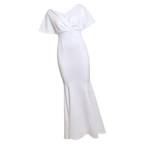 Mujeres l blanco Ropa Cena Baoblaze Novia Honor Nocturna Club de Fiesta Maxi Vestido Noche Dama qw6Sx0AF