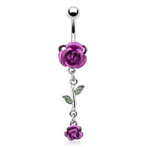 Dangle Metal Rose Navel Ring 316L Surgical Steel (Freedom Rose)