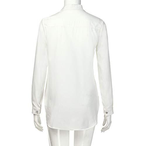Chic de Blanc V Longue Chemise Top Chemisier Grande Bureau Col Blouse Manche Taille Femme Bouton Tonsi ZZx0If