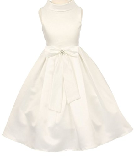 Price comparison product image AkiDress Satin Cowl Neckline with Large Bow Flower Girl Dress for Little Girl Ivory 8