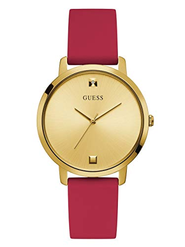 - GUESS Comfortable Gold-Tone + Red Stain Resistant Silicone Watch with Genuine Diamond Accents. Color: Red (Model: U1210L2)