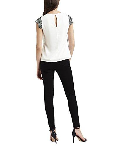Lipsy Mujer Camiseta Encaje Blanco