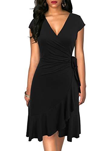 Berydress Women's Classic Cap Sleeve V-Neck Knee-Length Sheath Ruffle Cocktail Work Black Faux Wrap Dress (M, 6092-Black)