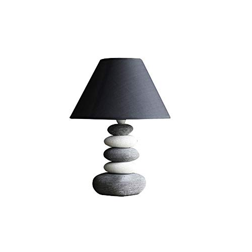 LDDEND Simple and Modern Warm Creative Ceramic Table Lamp - Remote Control Plug-in Home Bedroom Personality Decoration - Table Lamp Bedroom Bedside - Light White/Gray Stacked Stone Base