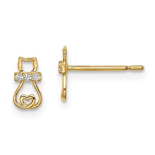 14k Yellow Gold CZ Cat with Heart Tail Post Earrings