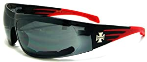 Choppers Padded Single Lens Sunglasses Black & Red Biker Motorcycle Glasses 912A