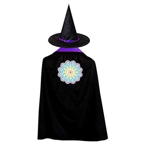 Mandala Kids' Witch Cape With Hat Generous Vampire Cloak For Halloween Cosplay -
