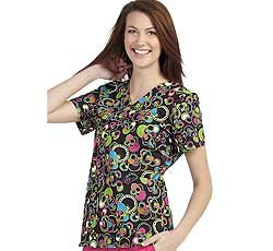 Peaches Uniforms Women's 100% Cotton Anna Print V-Neck Scrub Top