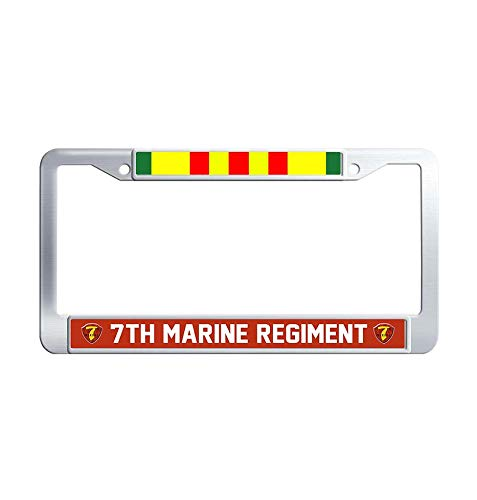 (JiuznseateFrame 7th Marine Regiment Vietnam Veteran License Plate Frame, Waterproof Metal Stainless Steel License Frame car Holder with Screw Caps)