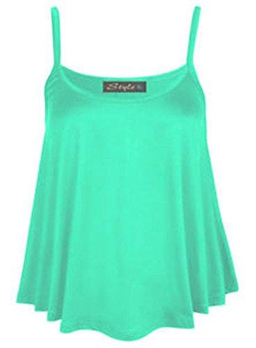 B&S Trendz - Top sin mangas para mujer talla grande (36-54), monocolor verde menta
