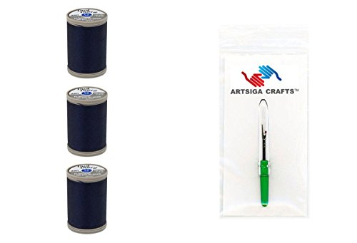 Coats & Clark Sewing Thread Dual Duty XP Heavy Polyester Thread 125 Yards (3-Pack) Navy Bundle with 1 Artsiga Crafts Seam Ripper S950-4900-3P