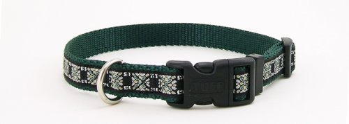Pet Attire Ribbon Kaleidoscope Print Adjustable Dog Collar Size from 18 to 28 Inches with a Width of 1 (Adjustable Ribbon Dog Collar)