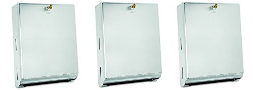 Bobrick 262 Surface-Mounted Paper Towel Dispenser, 10 3/4 x 4 x 14, Satin Stainless Steel (3-(Pack))