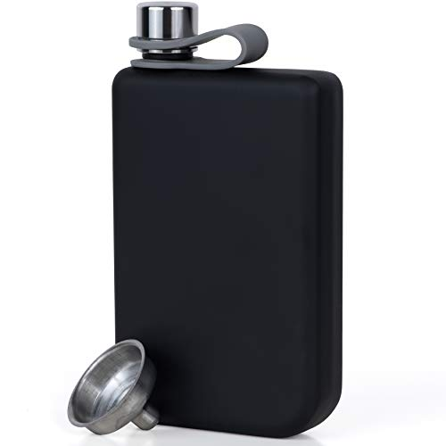 Vonwulf Liquor Hip Flasks and Funnel for Men, Stainless Steel, Matte Black, 8 oz. - Thin Whiskey Flask Gift Set -