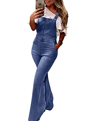 Dokotoo Womens Casual Basic Retro Spring Summer Fashion Solid Ladies Straps Pockets Wide Leg Flare Bell Bottom Wash Denim Jeans Overall Jumpsuit Pants Large ()