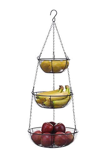 SunnyPoint 3 Tier Hanging Fruit Basket, Black Coating
