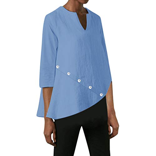Womens Loose Fit Long Sleeve Crewneck Tunic Tops Swing Blouses Button T-Shirt iIrregular Hem Casual Tops for Ladies Blue ()