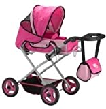 : Doll Carriage Pram Stroller 3-in-1 Carrier Set with Adjustable Handle