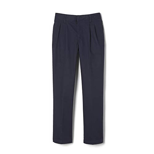 French Toast Big Boys' Pleated Double Knee Pant with Adjustable Waist, Navy, - Pants Boys Pleated Dress