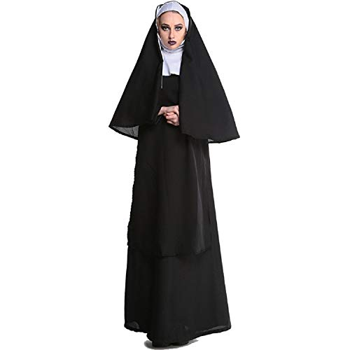 uniquetj Nun Costume for Women Cosplay Costumes Dress Outfit Robe and Plus Size Outfit (M, -