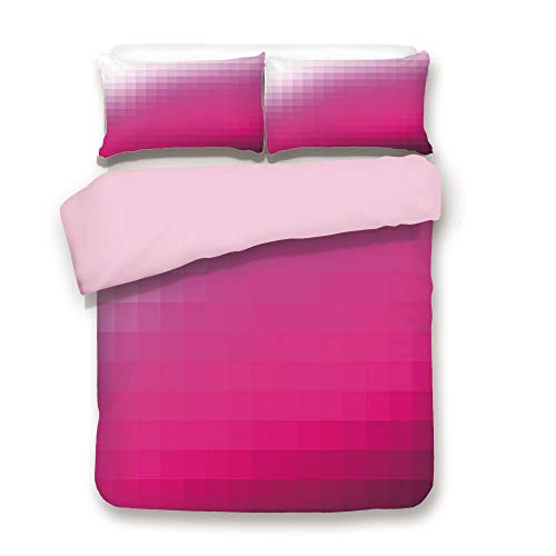 Pink Duvet Cover Set,Queen Size,Modern Art Mosaic Tiles Gradually Color Changing Squares Image Decorative,Decorative 3 Piece Bedding Set with 2 Pillow Sham,Best Gift For Girls Women,Hot Pink Dark Purp