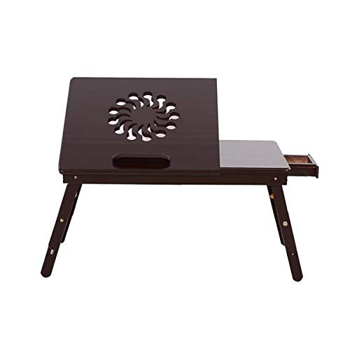 Penpos Bamboo Laptop Desk Adjustable Table, Wood Foldable Breakfast Serving Bed Tray Tilting Top Storage Drawer (Coffee Brown)