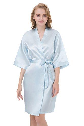 gusuqing Women's Pure Color Short Kimono Robe Sleeve Bridesmaid Robe Baby Blue 11 M ()