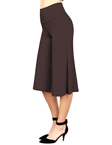 Made By Johnny WB876 Womens Knit Culottes Pants L Brown