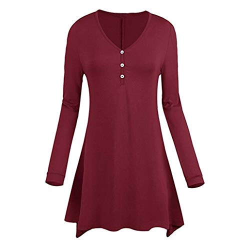 Solid Henleys Clearance Tops, Duseedik Womens Fashion Casual Tunic Solid Long Sleeve Botton V-Neck T-Shirt Tops Blouse ()