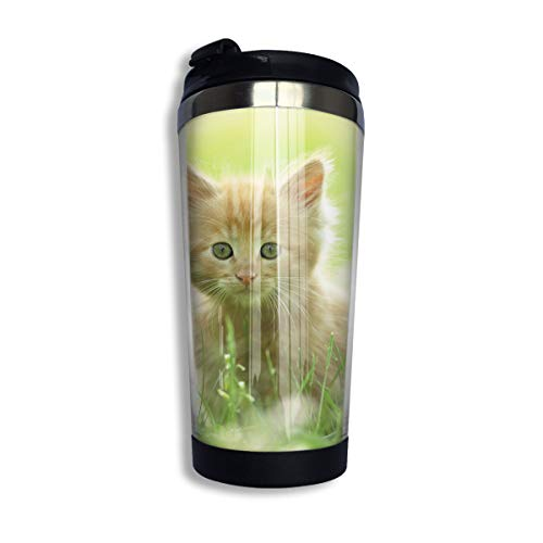 Coffee Thermos Cup Cat Kitty Grass Stainless Steel Travel Mug Cup Water Bottle