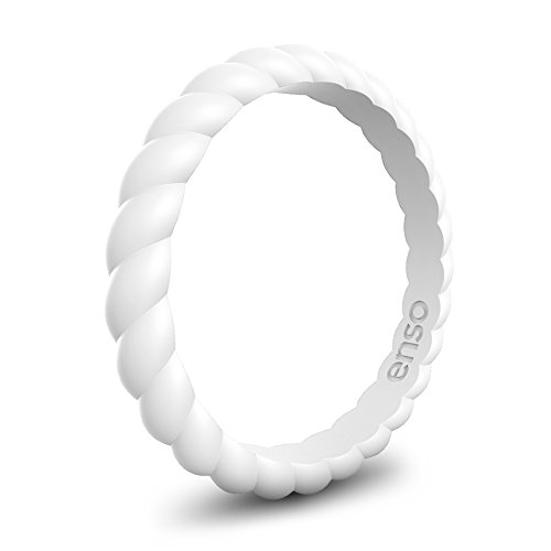 Enso Womens Braided Silicone Ring White Size: 6