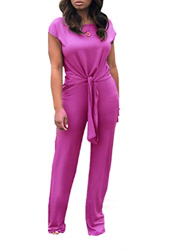 Ophestin Women Casual Ribbed 2 Piece Outfits Jumpsuits Short Sleeve Tie Front Top + Pockets Wide Leg Long Pants Set Purple XL
