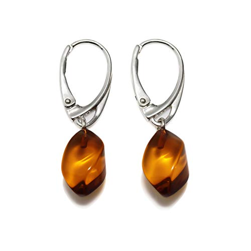 Drop Amber Dangle Earrings for Women - 925 Sterling Silver - Genuine Baltic Amber - Hypoallergenic (Stone Sterling Handmade Genuine Earrings)