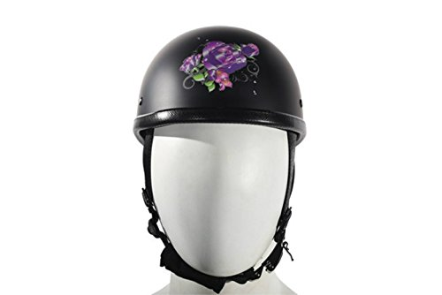 Womens Novelty Motorcycle Helmet black With Purple Rose Tattoos Design size Medium