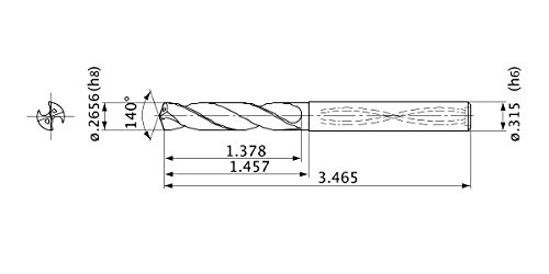 Internal Coolant Mitsubishi Materials MVS0675X03S080 Solid Carbide Drill 6.747 mm Cutting Diameter 3 Hole Depth 8 mm Shank Diameter 1.2 mm Point Length